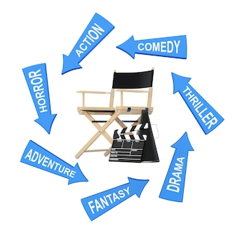Arrows with cinema styles around director chair, movie clapper and megaphone on a white background. 3d rendering.