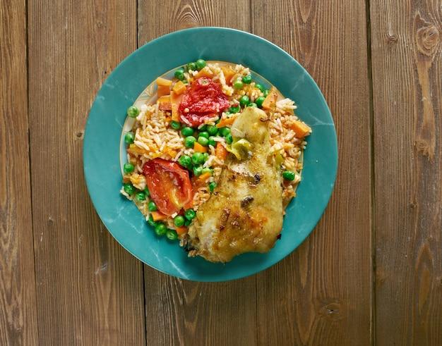 Arroz con pollo a la mexicana - chicken and rice dish from latin america