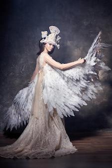 Art angel girl wings fairy image. swan princess
