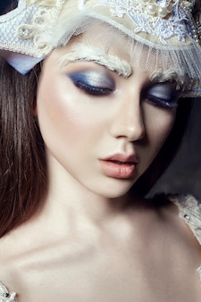 Art beauty girl portrait, eyelashes and makeup