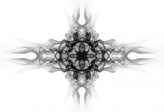 Art of black smoke abstract on white background. fire design
