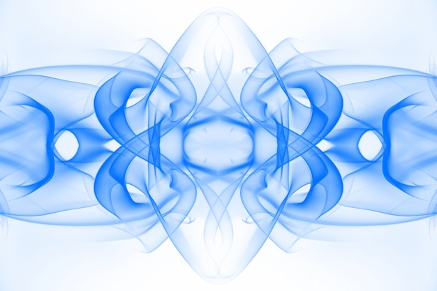 Art of blue smoke abstract on white background