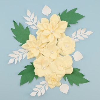 Art concept with arrangement paper flowers