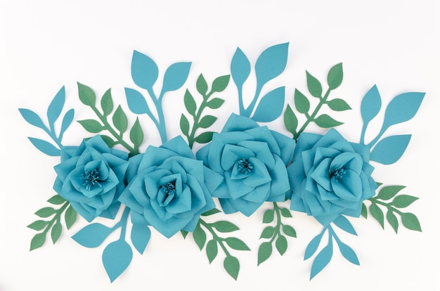 Art concept with blue paper flowers