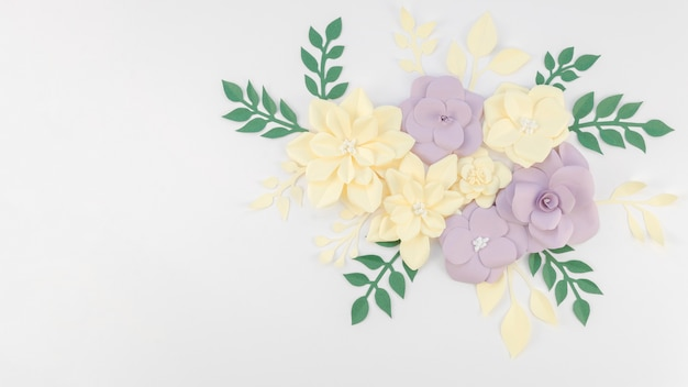 Art concept with colorful paper flowers