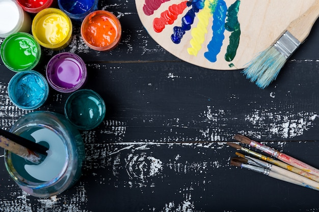 Art and craft tools. items for children's creativity.acrylic paint and brushes