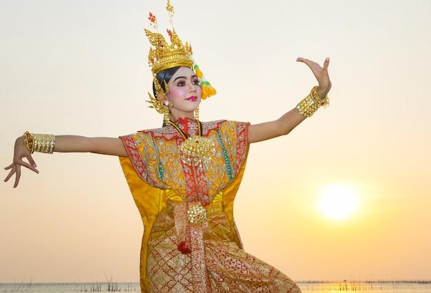 Art culture thai dancing in masked khon benjakai in literature ramayana,thailand