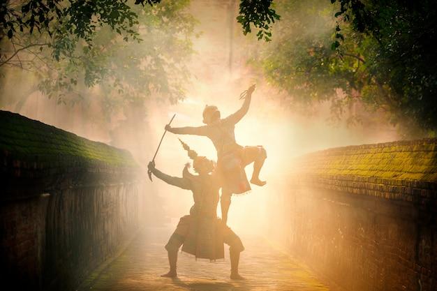 Art culture thailand dancing in masked khon in literature ramayana, thai classical monkey