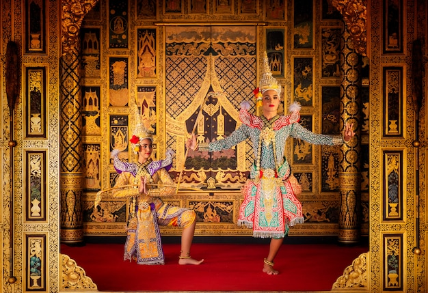Art culture thailand dancing in masked khon in literature ramayana,