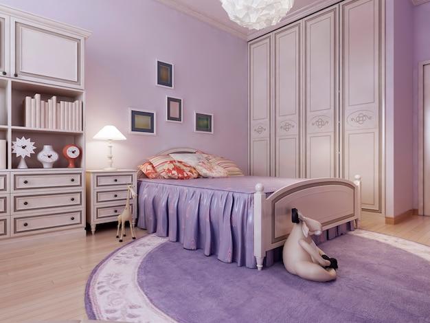 Art deco cozy bedroom idea with spacious room with purple walls.