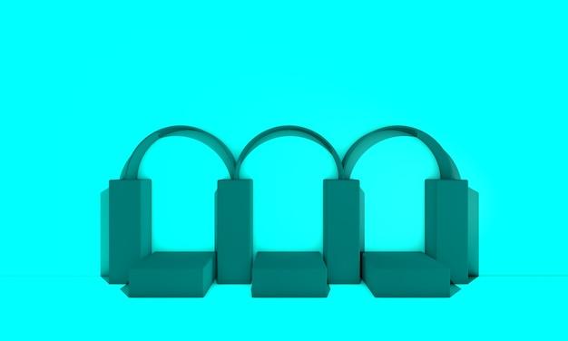 파스텔 색상의 아치가있는 아트 데코 연단. 3d 그림