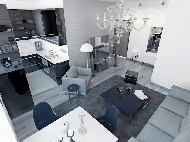 아르 데코 스튜디오 아파트. 검은 색 광택 주방, 아늑하고 넓은 거실. 3d 렌더링