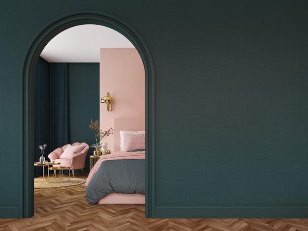 아치 벽이있는 아트 데코 스타일의 침실 인테리어