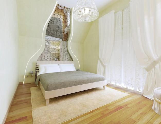 明るいオリーブの壁のアールデコ様式のベッドルーム。傾斜した壁に沿って模様が描かれた鏡のある広々としたお部屋です。チュールと白いカーテン、そして後ろにバルコニー。 3dレンダリング