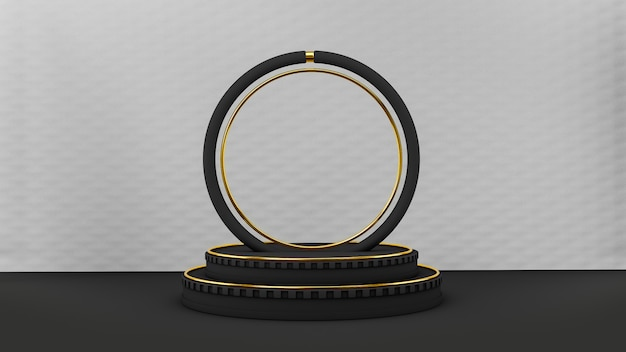 Art deco style black pedestal with black and gold circle shapes