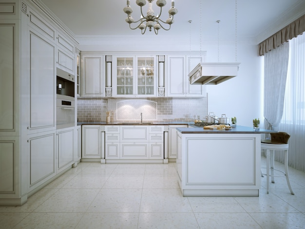 Интерьер белой кухни арт-деко