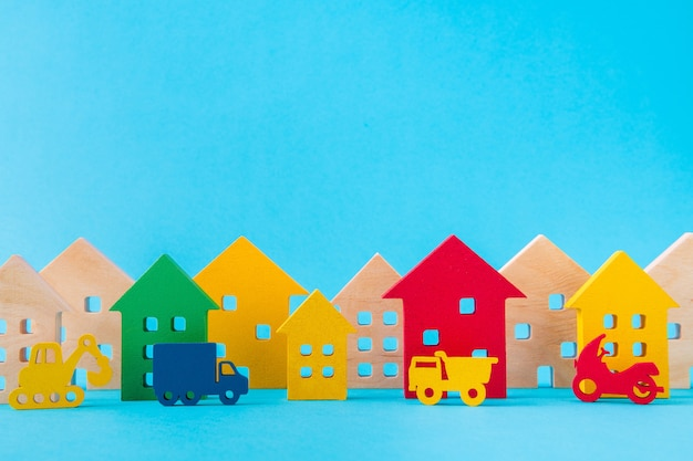 Art design picture of wooden figures settlement cottage residence development