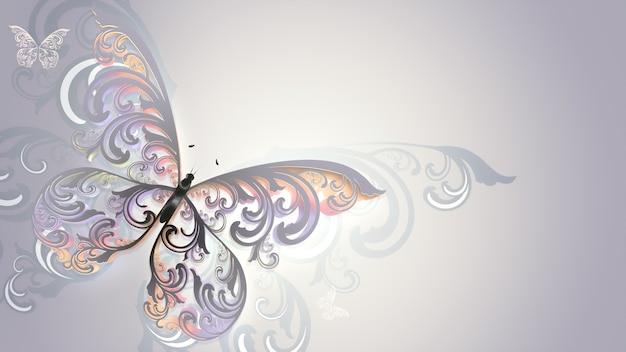 꽃 무늬 날개를 가진 아름다운 여러 가지 빛깔의 나비와 예술 디자인.
