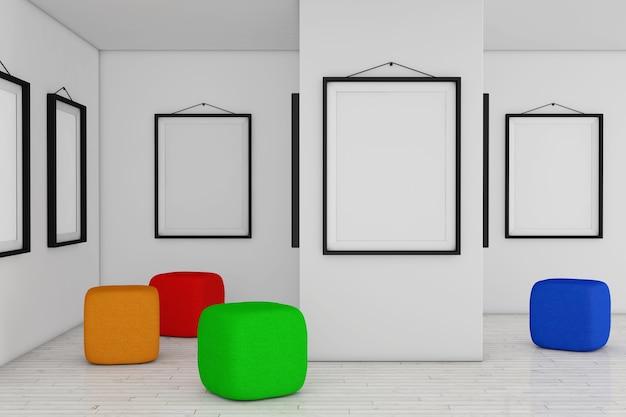 흰색 빈 플래카드 모형 프레임과 컬러 안락의자 큐브 가방이 있는 미술관 박물관. 3d 렌더링