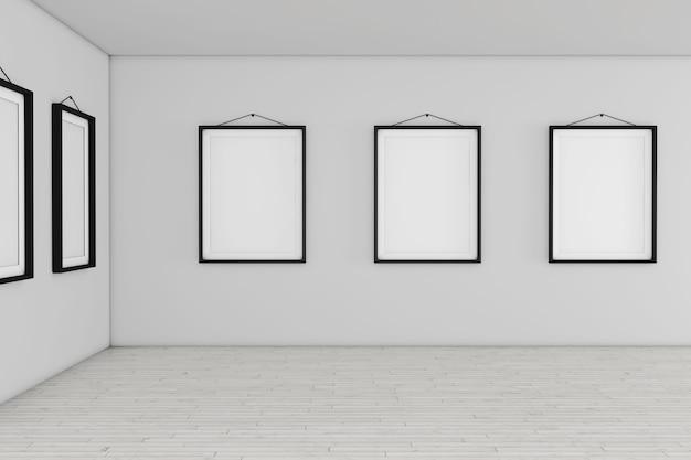 흰색 빈 현수막 모형 프레임이 있는 미술관 박물관은 극단적인 근접 촬영을 제공합니다. 3d 렌더링