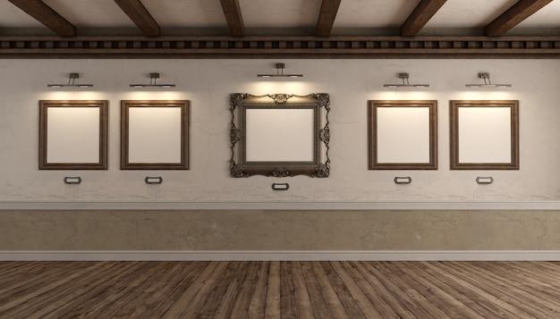 Художественная галерея со старой картинной рамкой на старой стене