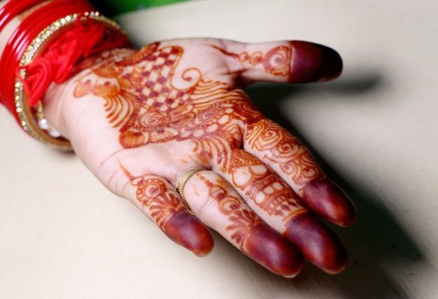 Art in girls hand using henna plant also called as mehndi design,style.it is a tradition in india.