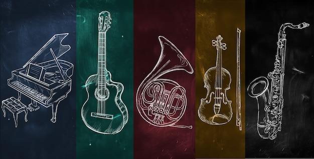 Art instruments music on colorful blackboard