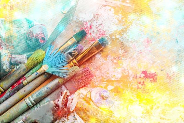 アートペイントアーティストのブラシ、創造性と才能