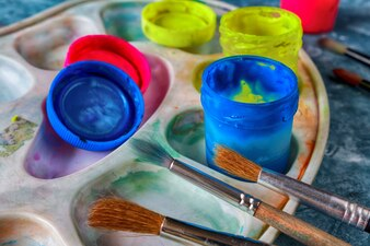 Art paints and brushes, accessories for the artist