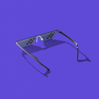 コンピューターの画面、電話、テレビをハードシャドウのある暗いライラックで作業する過程で保護に使用するアートピクセルグラス、コピースペース。