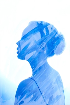 Art portrait woman consisting of brush strokes