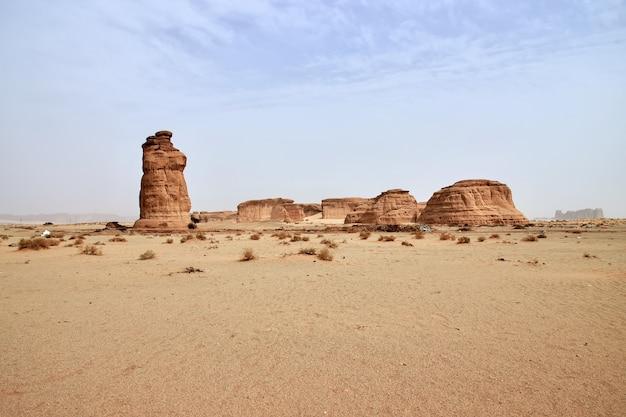 サウジアラビアのアルウラ近くの砂漠のアートロック