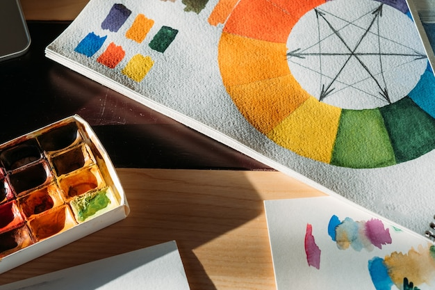 Art supplies at workplace. artist tools. watercolor paint set and color wheel on desk.
