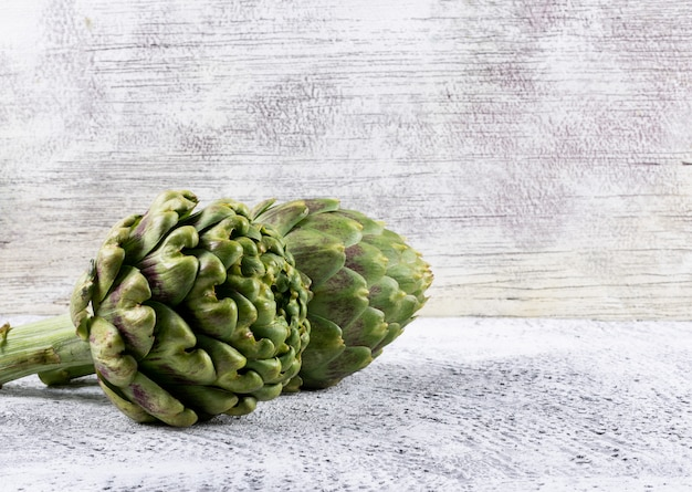 Artichoke side view on a light gray  space for text