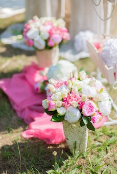 Artificial flower decorations for wedding ceremony