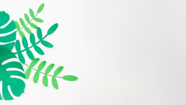 Artificial foliage from paper style with copy space