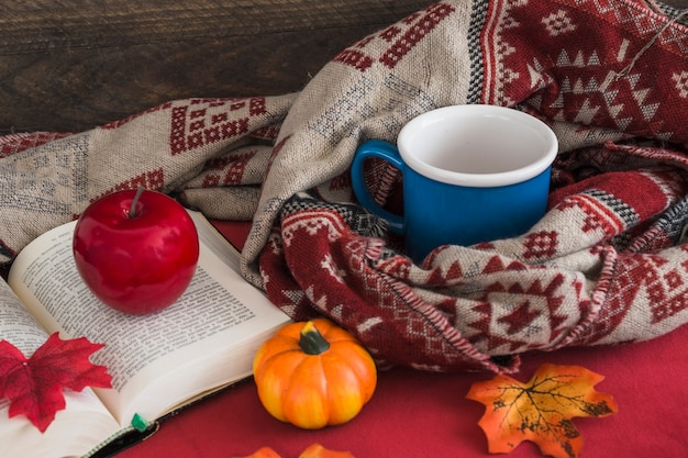 Artificial fruits on book near blanket and mug