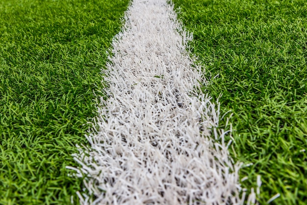 Artificial grass with white stripe, football stadium