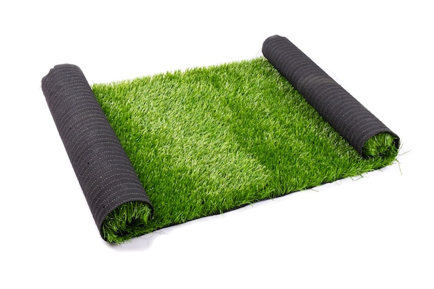 Artificial green grass, lawn isolate on white