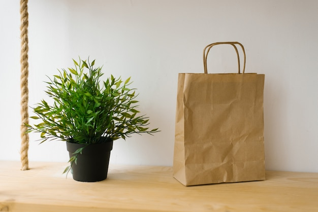 Artificial green houseplant and craft paper bag on a shelf