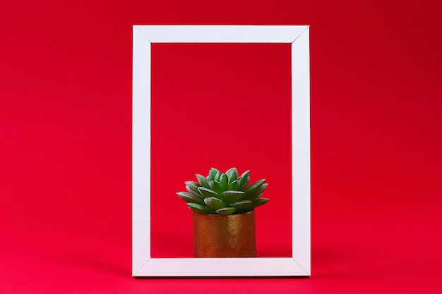 Artificial green plant in pot in white frame