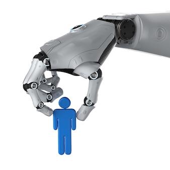 Концепция манипуляции искусственным интеллектом с роботом, удерживающим человека