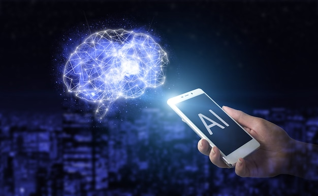 Artificial intelligence ai . hand hold white smartphone with digital hologram brain sign on city dark blurred background. virtual reality technology