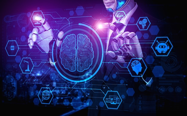Artificial intelligence ai research of robot and cyborg development