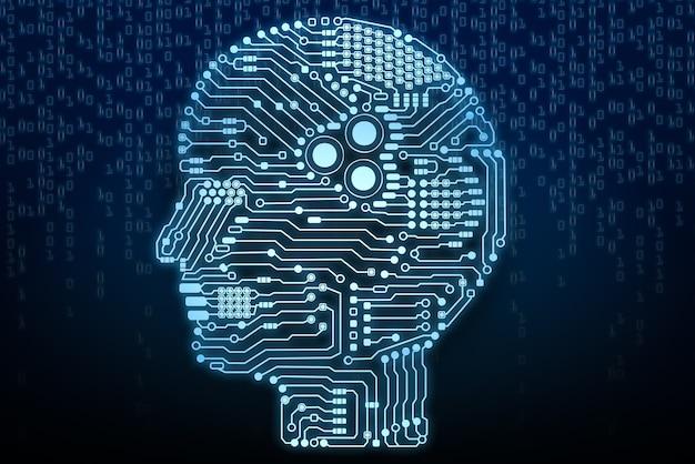 Мозг или печатная плата искусственного интеллекта в форме головы