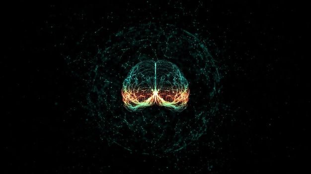 Artificial intelligence concept brain over a circuit board