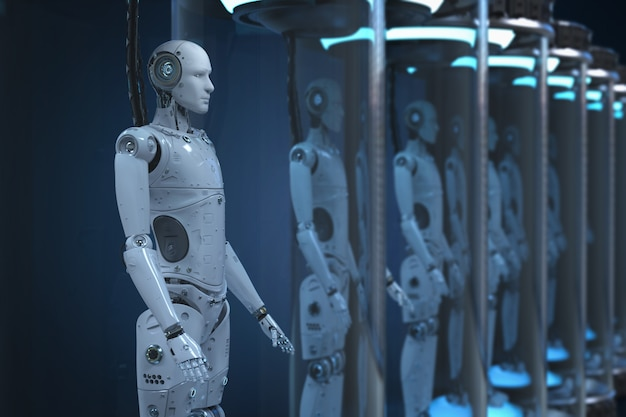 ガラスカプセル内の3dレンダリングロボットによる人工知能開発コンセプト
