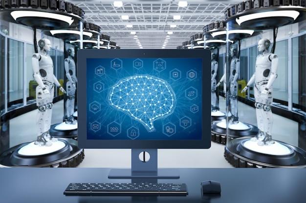 ガラスカプセル内のロボットによる人工知能開発の概念