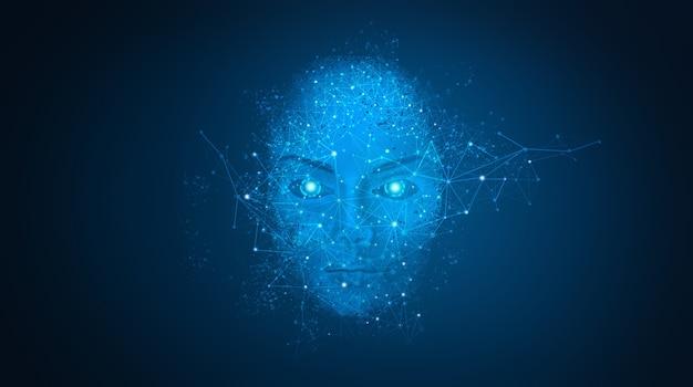 人工知能の顔。未来の世界