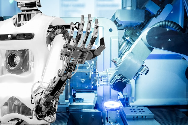 Artificial intelligence on industrial robotics in blue tone color background